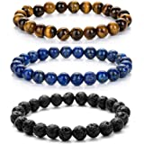ZHEPIN Couple Bracelets Crystal Stretch Beaded Bracelet Energy Healing Stone Bracelet Set for Men Women