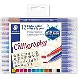 STAEDTLER Design Journey 3005 TB12, Rotuladores para lettering de doble punta, Caja con 12 marcadores de colores variados