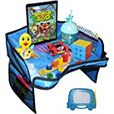 Kids Travel Tray for Car Seat and Stroller - Car Seat Tray Organizer - Includes iPad Holder - Multipurpose Mesh Pockets - Stu