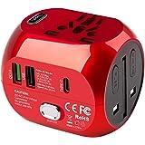 milool Adaptador Enchufe de Viaje Universal Adaptador con Tres Puertos USB y Tipo-C(3A) para EU AU US UK Más de 150 Países y