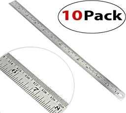 10 Pack Stainless Steel Ruler 12 inch / 30 cm Straight Measuring Tool with Conversion Table