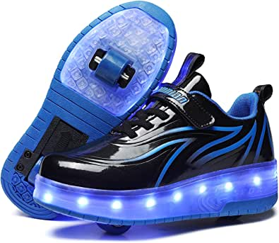 Unisex Kids LED USB Rechargeable Colorful Lights Trainer Roller Skates Shoes with Double Wheels Retractable Lightweight Outdoor Sports Cross Trainers Gymnastic Running Sneakers for Boys Girls