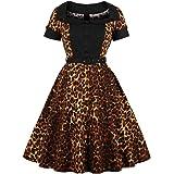 Donna retrò Elegante Leopard Stampa Abito Hepbun Rockabilly Cocktail Maxi Vestito Swing Partito Vestiti 50S 1950S