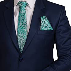 VIBHAVARI Men's Silk Cotton Tie and Pocket Square Paisley, Free Size(Black and Green, grnpgly_1)