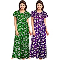 Mudrika Women's Cotton Embellished Maxi Nighty (Pack of 2) (ComboNT_7831_Multicolored)