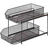Paniers Coulissant à 2 niveaux en maille, étagère de tiroir, organisateur d'armoire empilable pour cuisine sous évier Storage