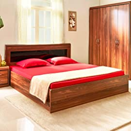 HomeTown Archer Engineered Wood Box Storage King Size Bed in Walnut Colour