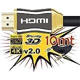 Cable de HDMI 2.0 de 10 Metros 4K Ultra HD Marca Unicview   Alta Velocidad con Ethernet   Full HD 1080p/4K Ultra HD 2160p/3D/