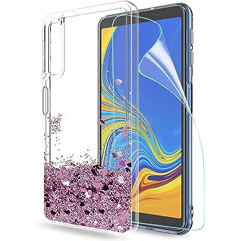 outlet store ac3e9 e924c LeYi Custodia Galaxy A7 2018 (A750) Glitter Cover con HD  Pellicola,Brillantini Trasparente Silicone Gel Liquido Sabbie Mobili Bumper  TPU Case per Samsung ...