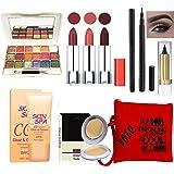 volo Stylish Beauty combo makeup set (3 Pcs Lipsticks,1 Eye Shadow, 1 CC Cream,1 Eyeliner, 1 Compact, 1 Kajal, 1 Pouch) Set o