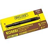 Online Schreibgeräte 17057/12 - Cartuchos combi para pluma estilográfica, color marrón