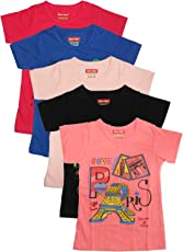 New Day Girl's Cotton T-Shirt - Pack of 5