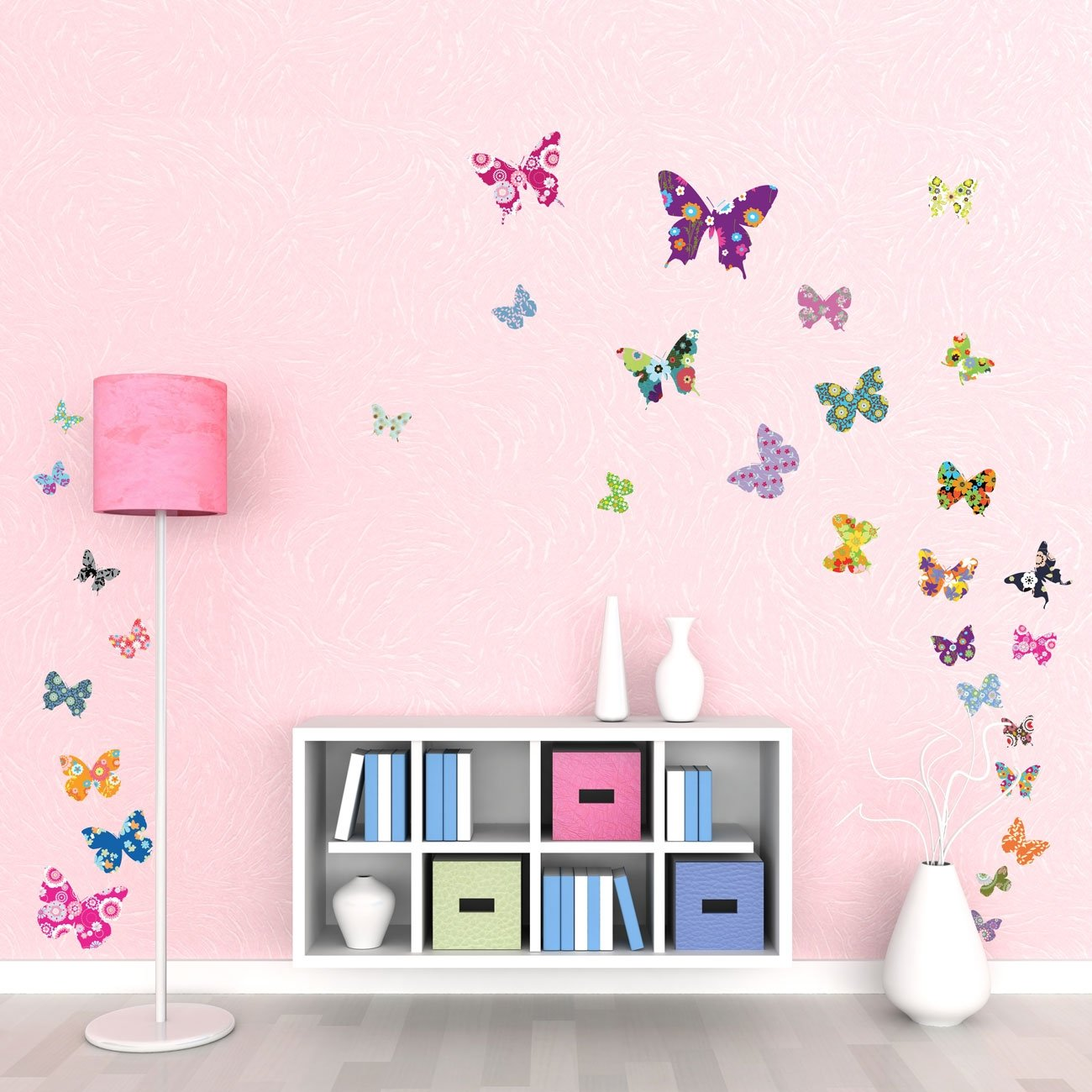 Details about Wall Stickers Girls Bedroom Colourful Butterflies Kids Wall  Decals Peel Stick