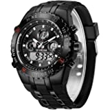 Orologio sportivo da uomo, impermeabile, cronometro, data, sveglia, luminoso, digitale, analogico, militare, con cinturino in