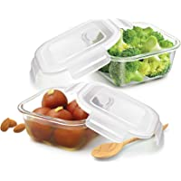 Treo By Milton Store Fresh Square Glass Storage Container Set of 2, 300 ml, Transparent