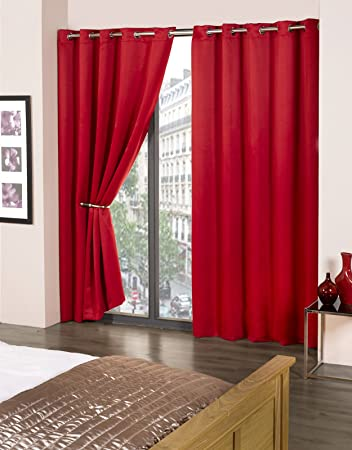 Blackout Curtains blackout curtains 90×90 : Thermal Eyelet Blackout Curtains by Feathers & Linen (Red, 90x90 ...