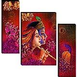 wallmax Radha Krishna MDF Framed Self Adhesive UV Coated Painting Set of 3 (12 Inch x 18 Inch, Multicolour, WAG-JM8670)