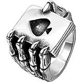 JewelryWe Gioielli Anello da Uomo, Anelli Gotico Teschio Artiglio Carte da Gioco, Poker, Acciaio Inossidabile, Colore Nero Ar