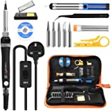 Soldering Iron Kit, Tabiger 60W Welding Tools with Adjustable Temp 200-450°C and ON/Off Switch, 5 Soldering Tips…