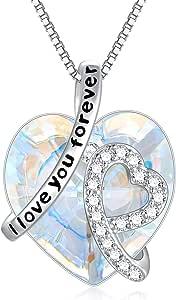 """Collana con ciondolo a forma di cuore in argento Sterling con cristalli Swarovski con scritta """"I Love You Forever"""" – regalo di compleanno per donne, mamma, fidanzata, figlia, lei"""