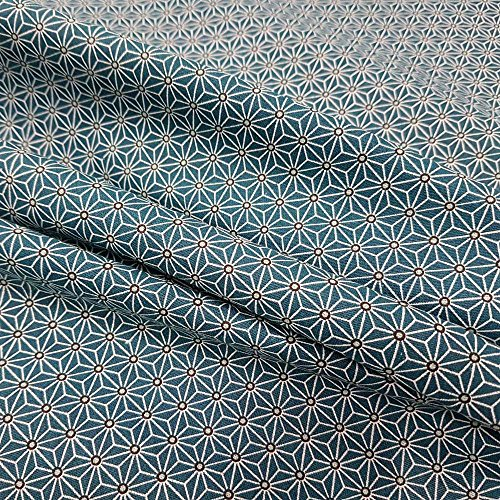 Werthers Stoffe Tela Tela de algodón Gris Blanco Azul Japón Asanoha Gráfico Kimono