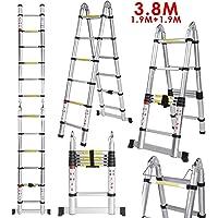 Voluker Échelle Télescopique 3,8M (1,9M + 1,9M), Échelle Escamotable Télescopique En Aluminium 13 Echelons, Charge Max 150 kg