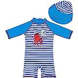 G-Kids Badpak voor jongens, eendelig, UPF 50+ uv-beschermend zwempak met zonnehoed