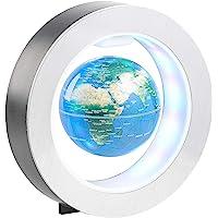 infactory Schwebender Globus: Freischwebender 10-cm-Globus in Magnet-Ring mit bunter LED-Beleuchtung (Magnetglobus)