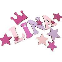 Holzbuchstaben Kinderzimmer - Tür in tollen Farbkombinationen. Perfektes Geburtsgeschenk oder Taufgeschenk. Inkl. Klebepads I Größe 7cm