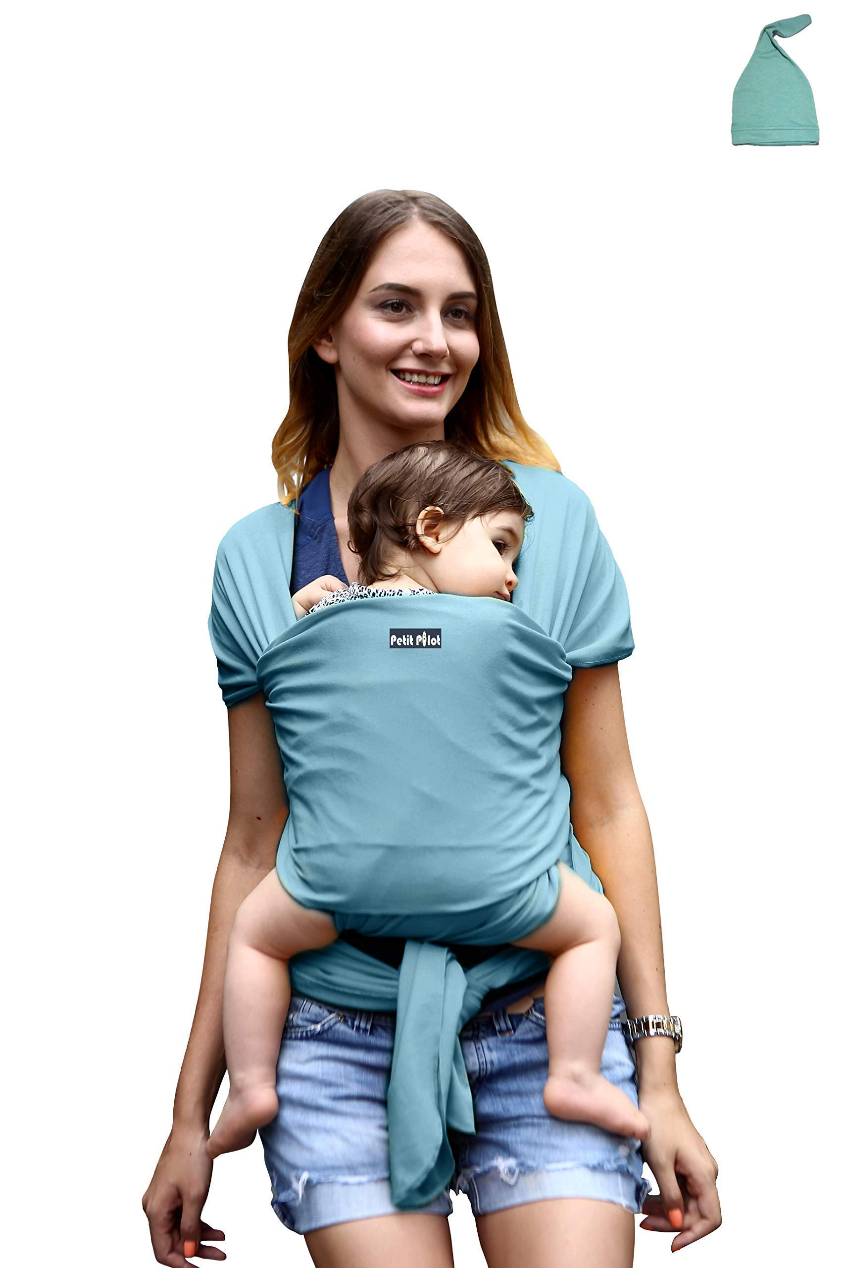 Baby Carrier Wrap Sling + Free Match Hat | Cian | Ideal Gift | Soft & Cozy for All Seazons | New Borns, Infants & Toddler.Order Two Units and get 20% Discount  BB DolPhin