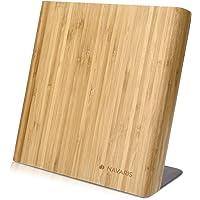 Navaris Bloc à Couteaux magnétique - Bloc aimanté en Bois de Bambou - Range Couteau de Cuisine Vide - Support avec…