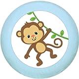 Manico in legno di faggio 'scimmia', azzurro tenero blu pastello, legno di faggio, per la cameretta dei bambini, 1 pezzo