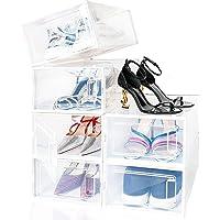 amzdeal Boîte à Chaussures, Lot de 6 Boîte de Rangement pour Chaussures en Platique Transparent avec Évents et Poignée…