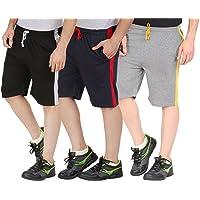 CHECKERSBAY Men's Cotton Shorts(3SAA-BLNACH Black,Navy,Charcoal) Pack of 3