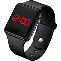 CLOUDWOOD Black LED Children Kids Rubber Strap Digital Watch for Boys and Girls -W306 (Black)