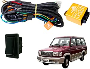 Auto Pearl Phoenix HeadLamp High Power 100/90W and 130/100W Wiring Harness Kit with Relay and Switch for Toyota Qualis (Set of 3, Multicolor)