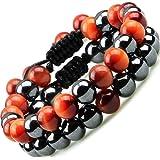 Duo de bracelets pierres naturelles Perles Véritable énergétiques Protection thérapeutiques Hématite Onyx Oeil du tigre fauco