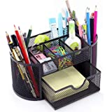 Thigles Compartments Multi-functional Mesh Desk Organizer Pen Holder Stationery Storage Container Box