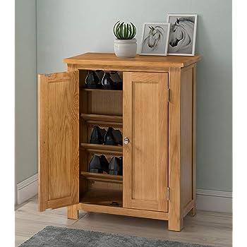 waverly oak hallway shoe storage cupboard cabinet organiser with 2 doors in light oak finish solid wooden rack