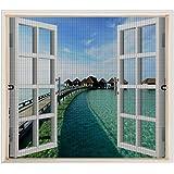 Liveinu Moustiquaire de Porte Fenetre Fermeture /éclair Rideau Moustiquaire De Porte Avec Aimants 80x100cm Blanc