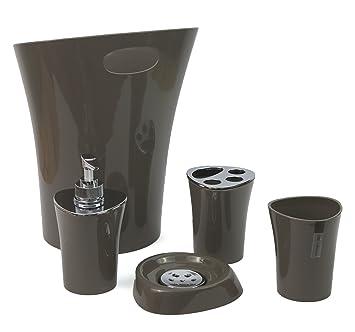 5 piece bathroom accessories set bin tumbler brush holder dispenser soap dish grey amazoncouk kitchen home