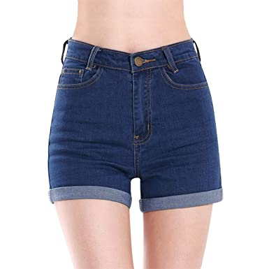Minetome Womens High Waist Crimping Denim Shorts Jeans Shorts Hot ...