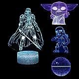 Huanchenda Star Wars 3D Ilusión Lámpara, 4 Patrones 7 Colores Cambian Luz Nocturna Lámpara de Noche para Decoración de Dormit