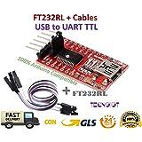 TECNOIOT FTDI FT232RL USB to TTL Serial Converter Adapter Module 5V and 3.3V + Cable |FTDI FT232RL USB-zu-TTL-Konverter-Adaptermodul mit 5 V und 3,3 V + Kabel