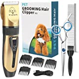 YIDON Dog Clippers, Professional Dog Grooming Clippers Kit Low Noise, Rechargeable Cordless Hair Trimmer with Stainless Steel