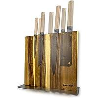 QUINTESSIO Bloc couteaux magnétique sans couteaux - Porte-couteaux en bois magnétique double face - Tablette à couteaux…