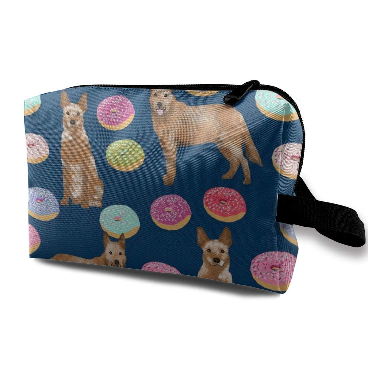 5fc03d20a386 Makeup Bag Portable Travel Cosmetic Bag Australian Cattle Dog Donuts -  Donuts, Dog Donut, Food, Cute Dog, Pet Friendly - Red Heeler - Navy Mini  Makeup ...