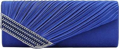 MEGAUK Damen Glitzer Clutch Satin Strass Unterarmtasche mit Abnehmbare Kette für Hochzeit Wedding Ball Bankett Prom Party