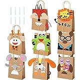 Pajaver 8 Stück DIY Geschenktüten Kinder Partytüten Papier, Thema Waldtiere Set für Mitgebsel Ostertüten Weihnachten