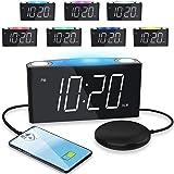 Extra Högt Väckarklocka med Sängskakare, Vibrerande Sovrums Digital Klocka för Tunga sovande Hörselskadade, Stor LED-skärm me